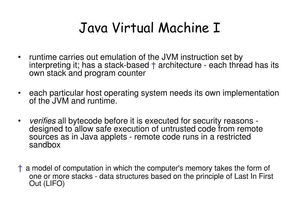 Java Virtual Machine I