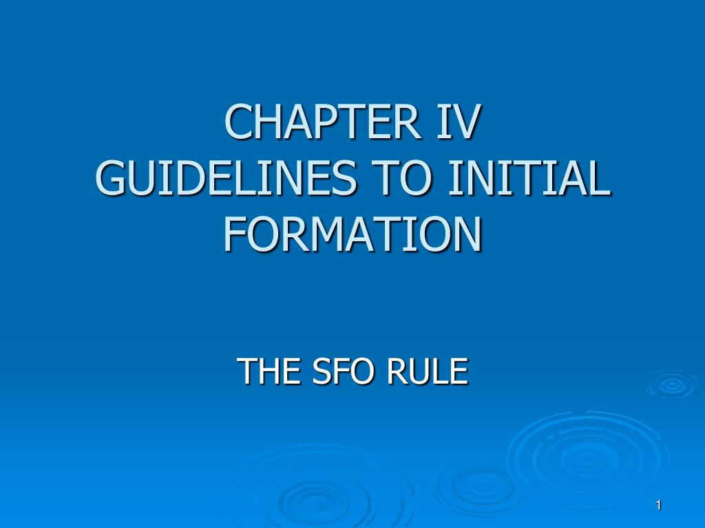 chapter iv guidelines to initial formation l.