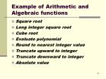 example of arithmetic and algebraic functions