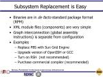 subsystem replacement is easy