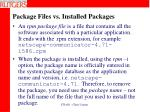 package files vs installed packages