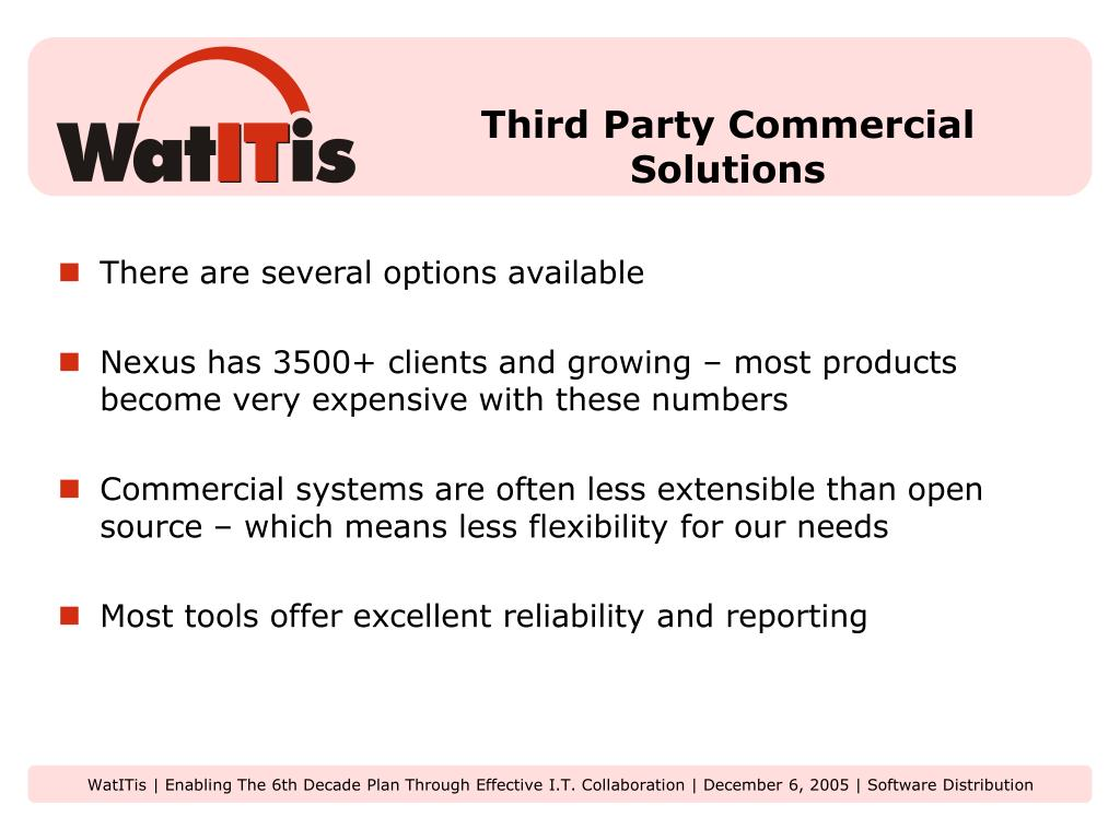 Third Party Commercial Solutions