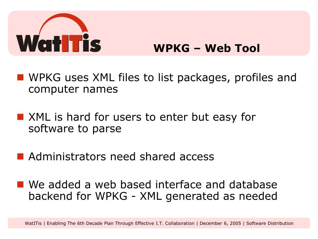 WPKG – Web Tool