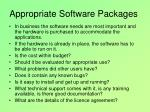 appropriate software packages