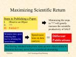 maximizing scientific return