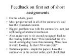 feedback on first set of short assignments