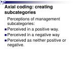 axial coding creating subcategories