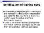 identification of training need