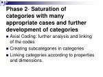 phase 2 saturation of categories with many appropriate cases and further development of categories
