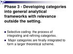 phase 3 developing categories into general analytical frameworks with relevance outside the setting