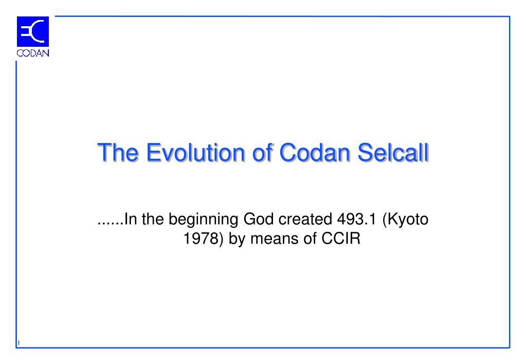the evolution of codan selcall l.