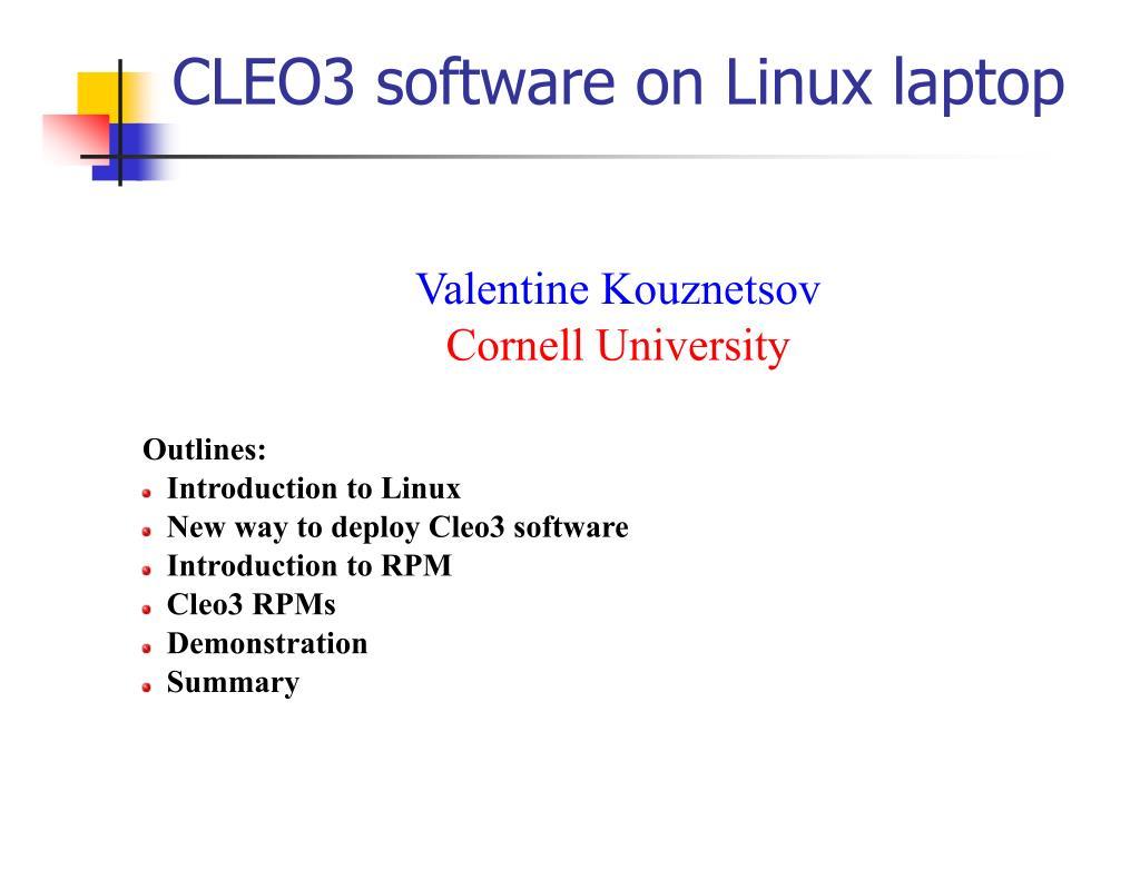 cleo3 software on linux laptop l.