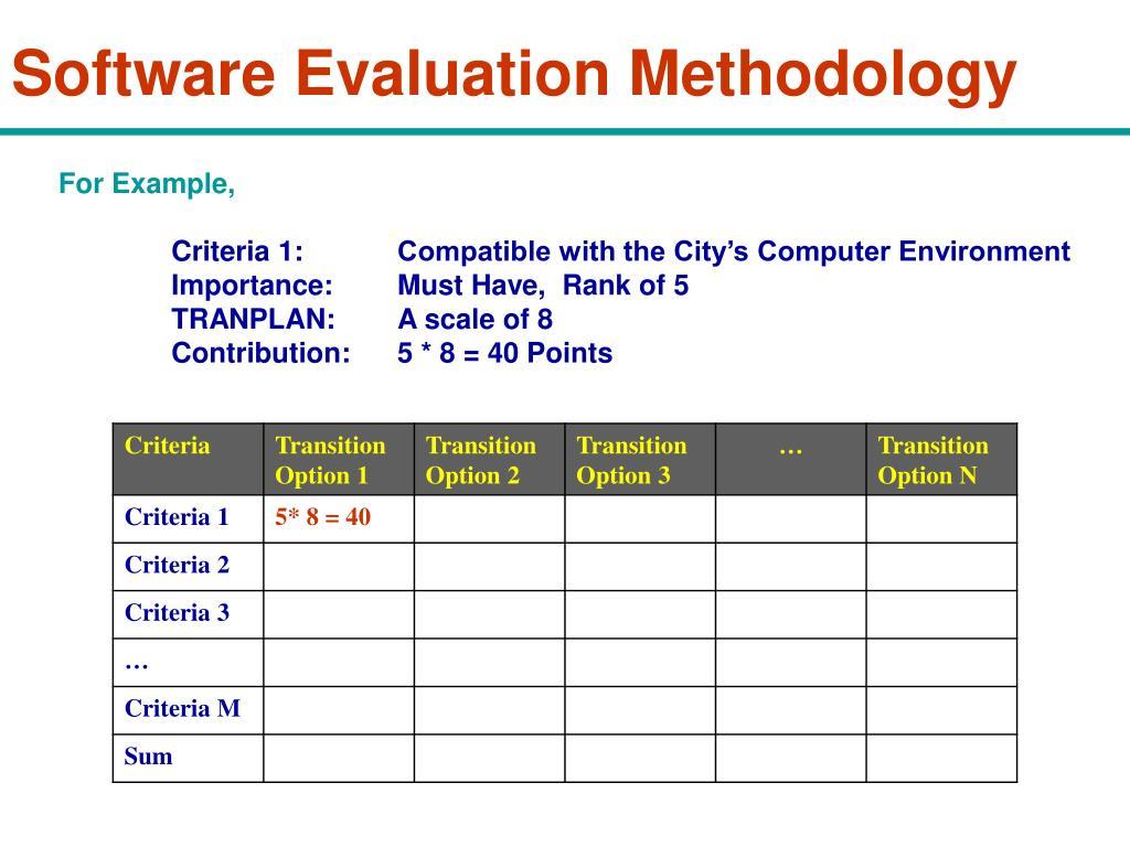 software evaluation criteria