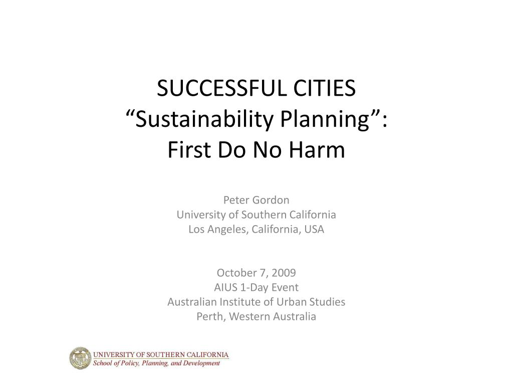 successful cities sustainability planning first do no harm l.