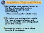 balance on goods and services