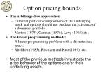 option pricing bounds
