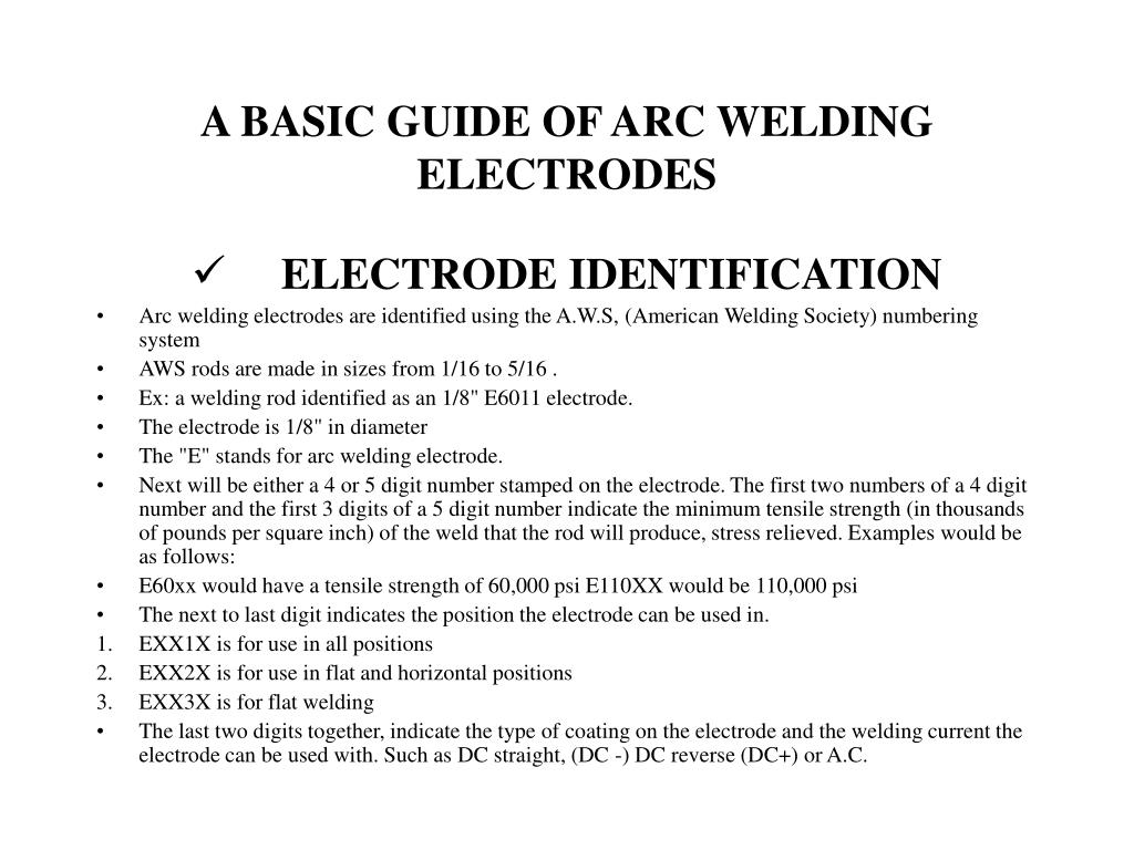 a basic guide of arc welding electrodes l.