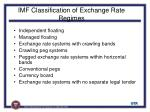 imf classification of exchange rate regimes