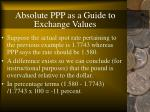 absolute ppp as a guide to exchange values