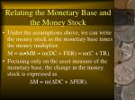 relating the monetary base and the money stock