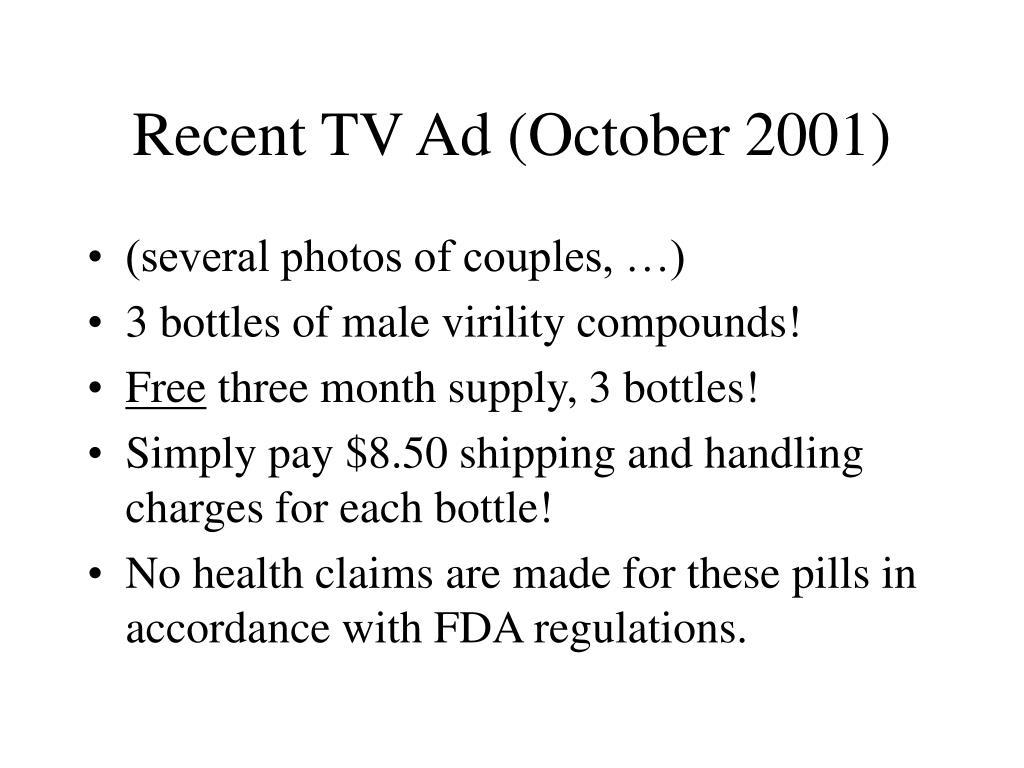 Recent TV Ad (October 2001)