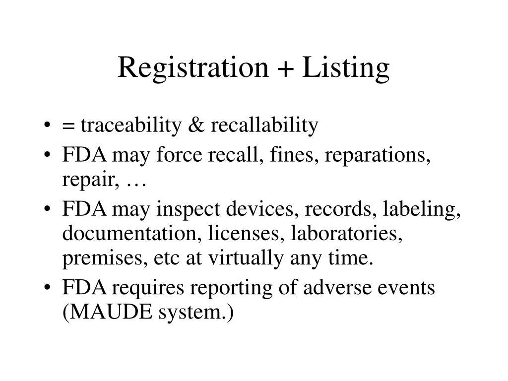 Registration + Listing