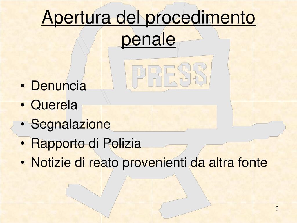 Apertura del procedimento penale