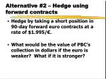alternative 2 hedge using forward contracts