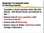 reasons to manage risk in working capital