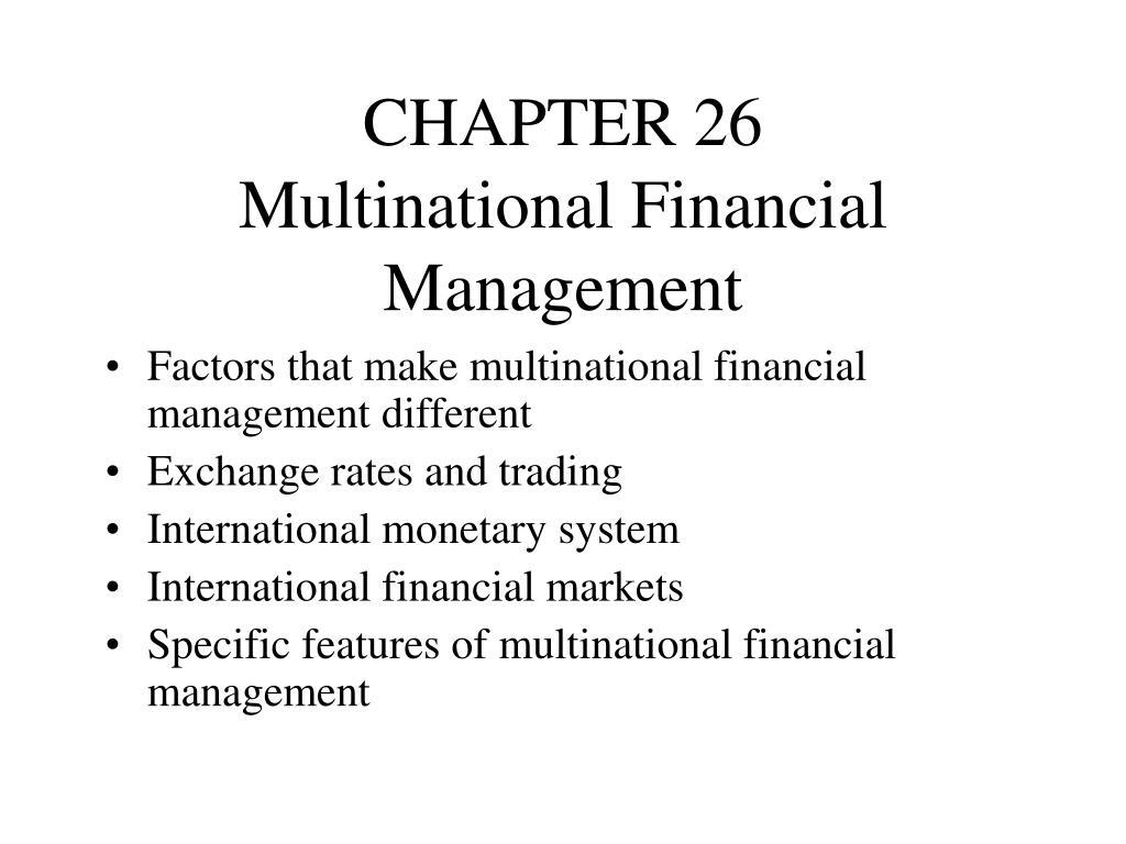 chapter 26 multinational financial management l.