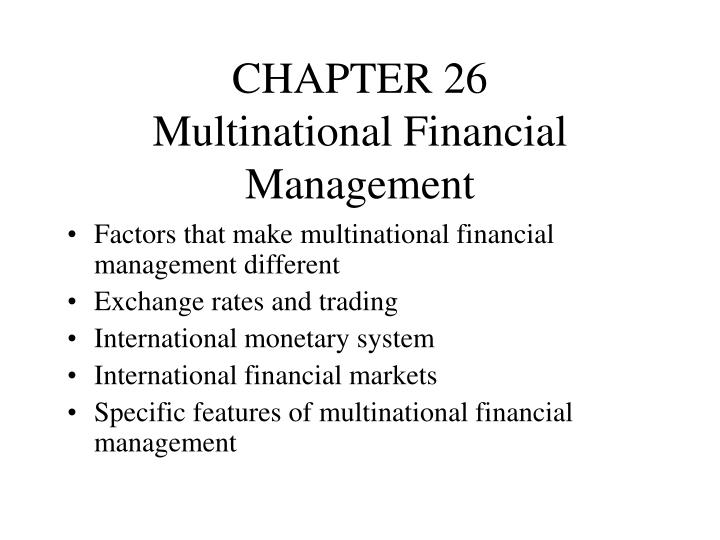 chapter 26 multinational financial management n.