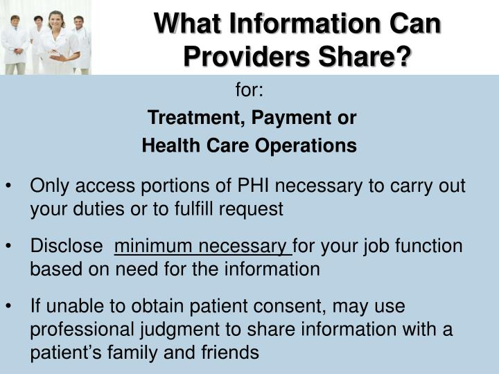 What Information Can Providers Share?