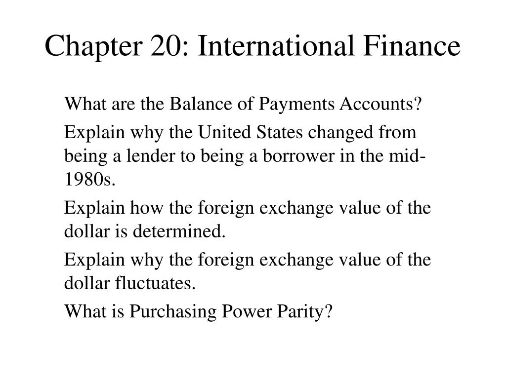 chapter 20 international finance l.
