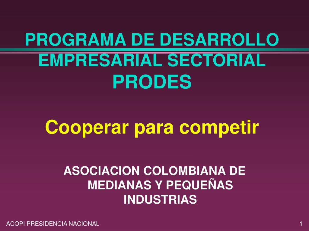 programa de desarrollo empresarial sectorial prodes cooperar para competir l.