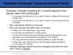 riskless arbitrage covered interest parity43