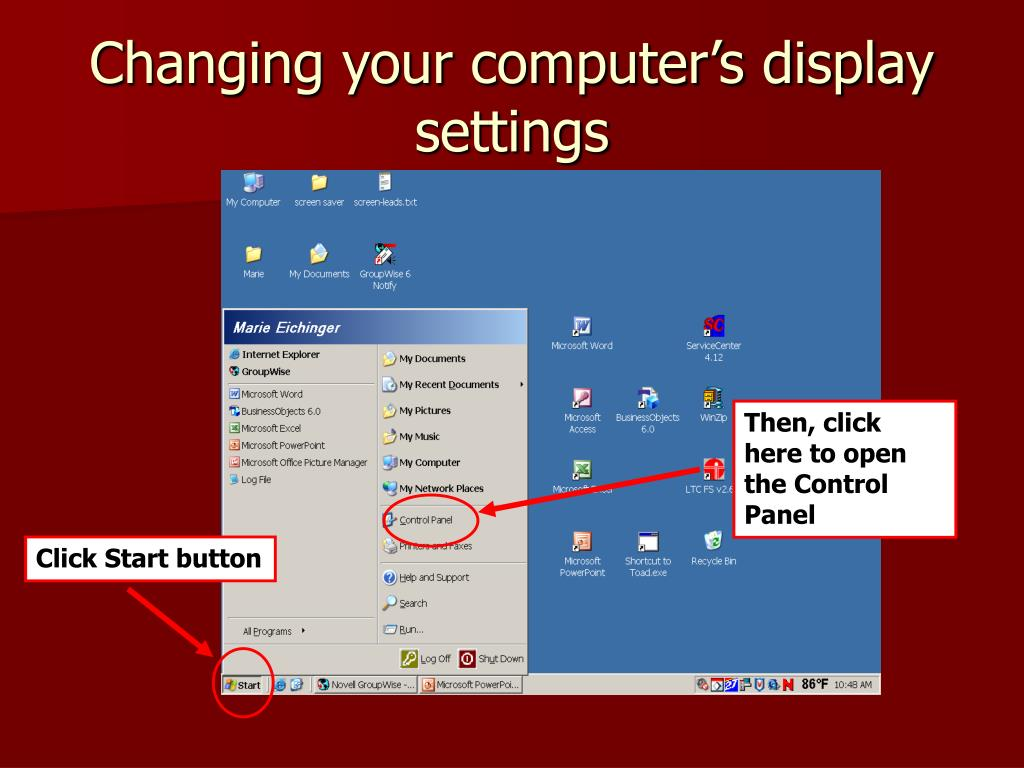 Changing your computer's display settings
