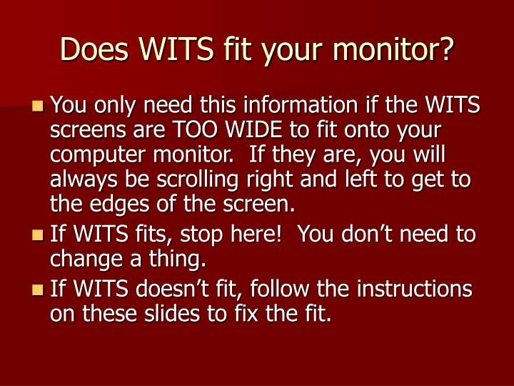 Does wits fit your monitor