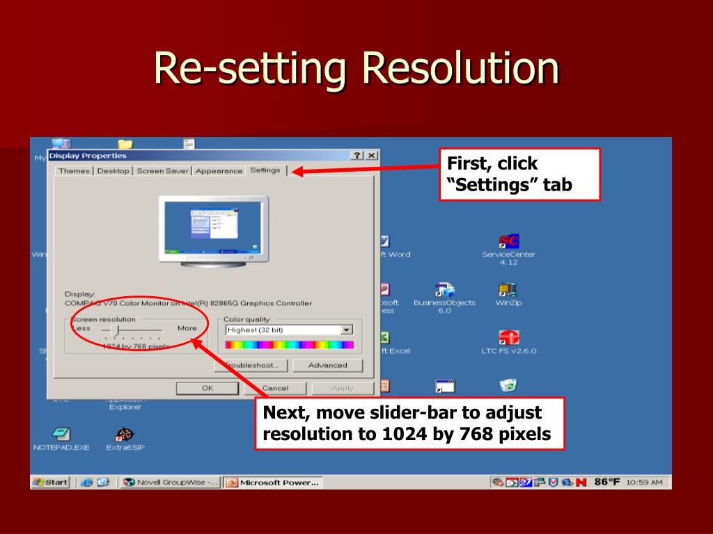 Re-setting Resolution