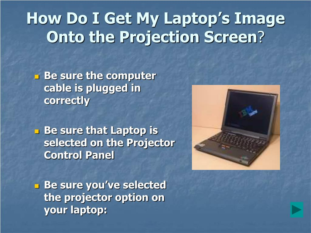 How Do I Get My Laptop's Image Onto the Projection Screen