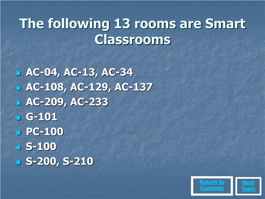 The following 13 rooms are Smart Classrooms