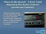 there is no sound i even tried adjusting the audio controls inside the cabinet