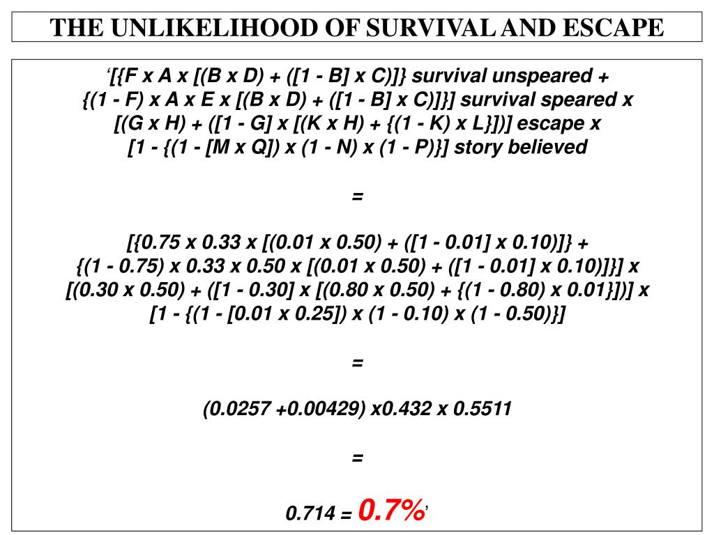 THE UNLIKELIHOOD OF SURVIVAL AND ESCAPE