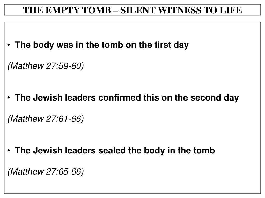 THE EMPTY TOMB – SILENT WITNESS TO LIFE