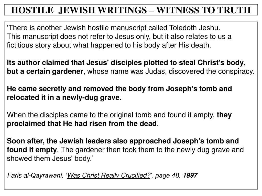 HOSTILE  JEWISH WRITINGS – WITNESS TO TRUTH