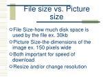 file size vs picture size