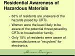 residential awareness of hazardous materials