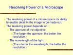 resolving power of a microscope