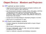 output devices monitors and projectors