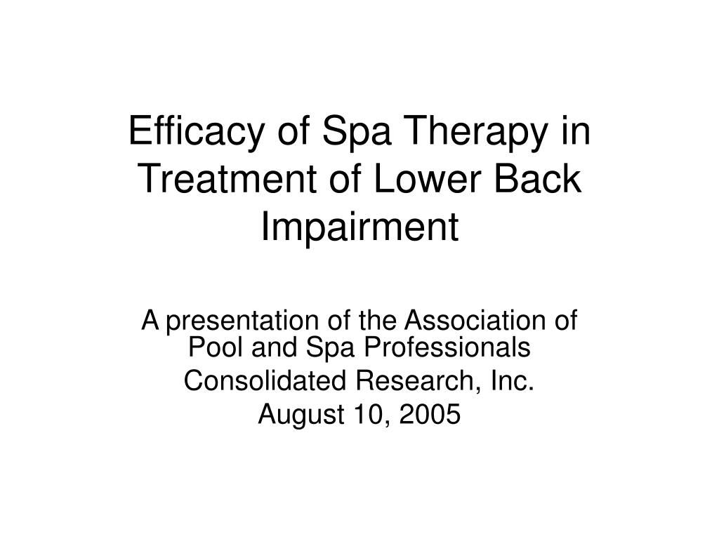 efficacy of spa therapy in treatment of lower back impairment l.