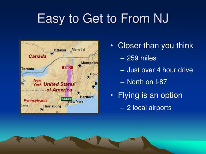 Easy to get to from nj